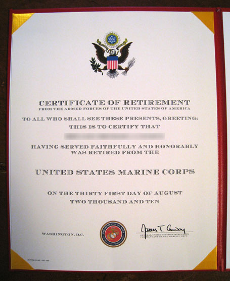 Retirement certificate letter